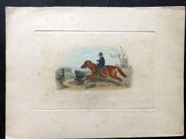 Richard Davis 1840 Hand Col Print. The Badminton Sweep. Equestrian Horse